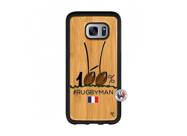 Coque Samsung Galaxy S7 100 % Rugbyman Entre les Poteaux Bois Bamboo
