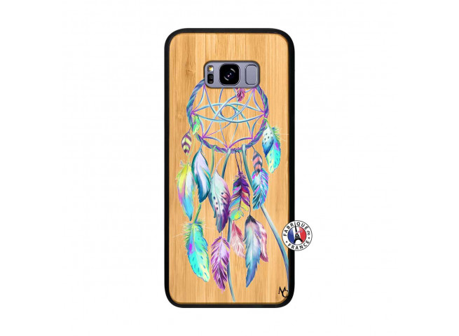 Coque Samsung Galaxy S8 Plus Blue Painted Dreamcatcher Bois Bamboo