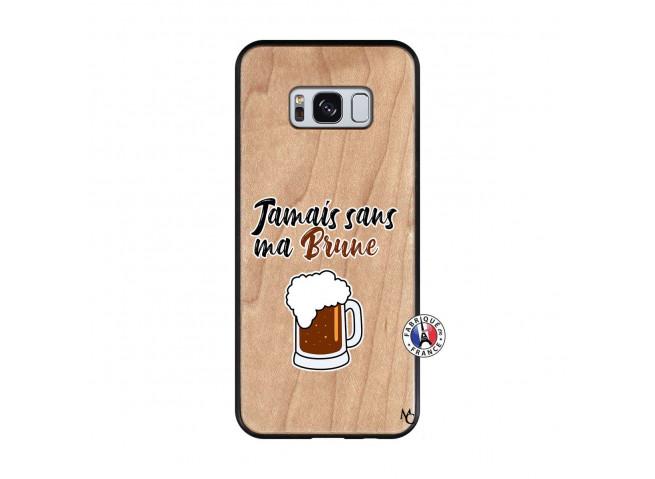 Coque Samsung Galaxy S8 Jamais Sans Ma Brune Bois Bamboo