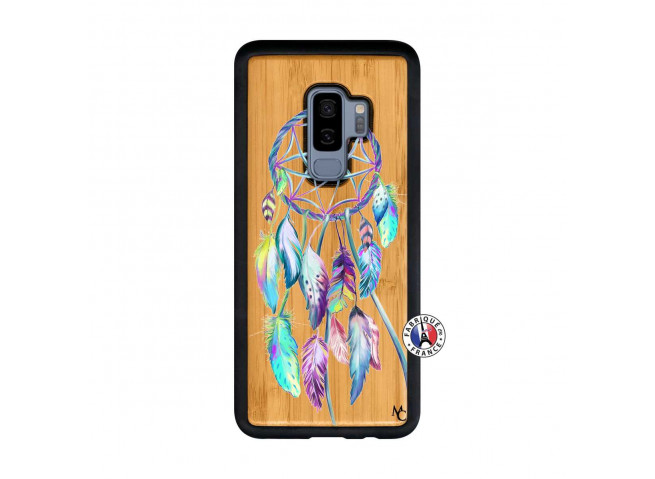 Coque Samsung Galaxy S9 Plus Blue Painted Dreamcatcher Bois Bamboo