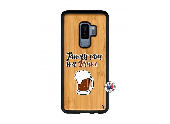 Coque Samsung Galaxy S9 Plus Jamais Sans Ma Brune Bois Bamboo