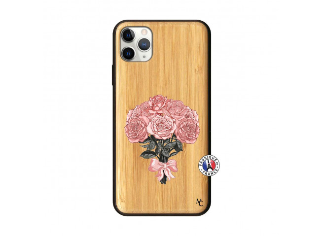 Coque iPhone 11 PRO MAX Bouquet de Roses Bois Bamboo