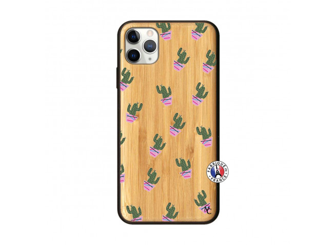 Coque iPhone 11 PRO MAX Cactus Pattern Bois Bamboo