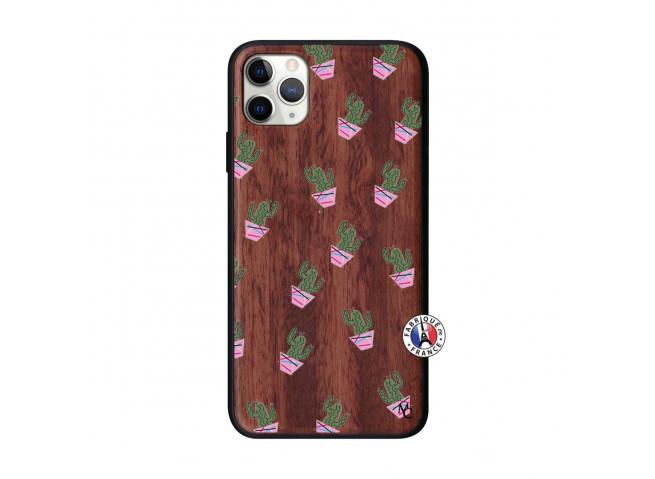 Coque iPhone 11 PRO MAX Cactus Pattern Bois Walnut