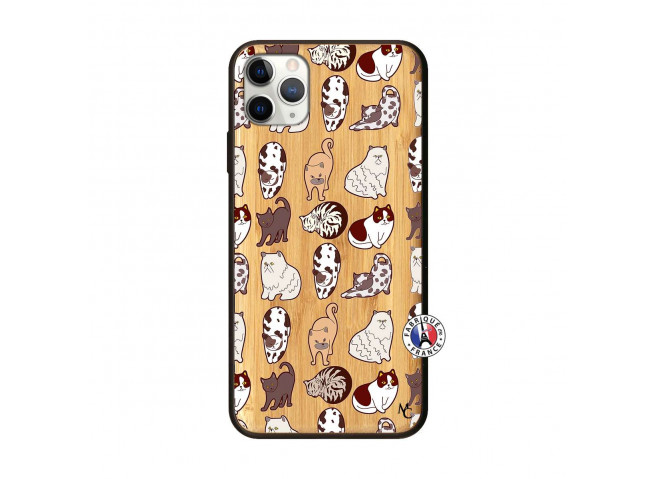 Coque iPhone 11 PRO MAX Cat Pattern Bois Bamboo