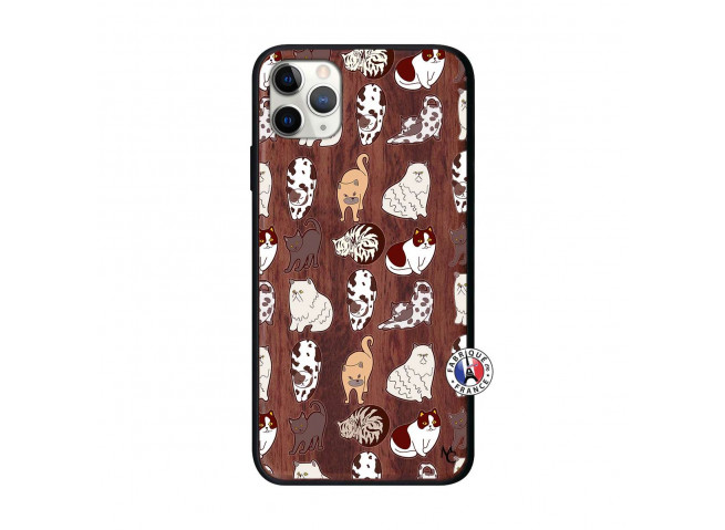 Coque iPhone 11 PRO MAX Cat Pattern Bois Walnut