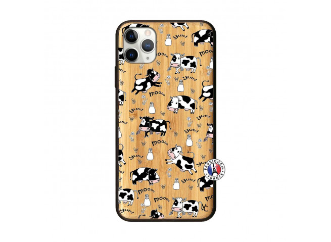 Coque iPhone 11 PRO MAX Cow Pattern Bois Bamboo