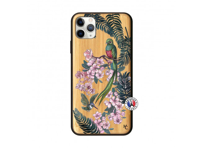 Coque iPhone 11 PRO MAX Flower Birds Bois Bamboo