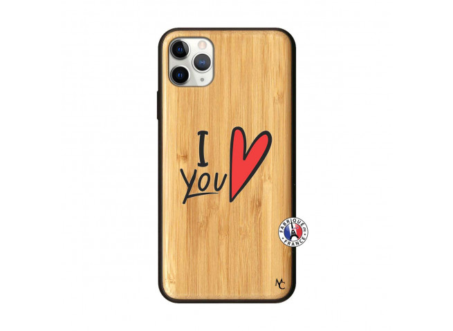 Coque iPhone 11 PRO MAX I Love You Bois Bamboo