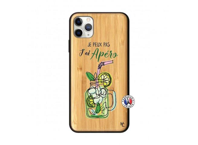 Coque iPhone 11 PRO MAX Je peux pas J'ai Apéro Bois Bamboo