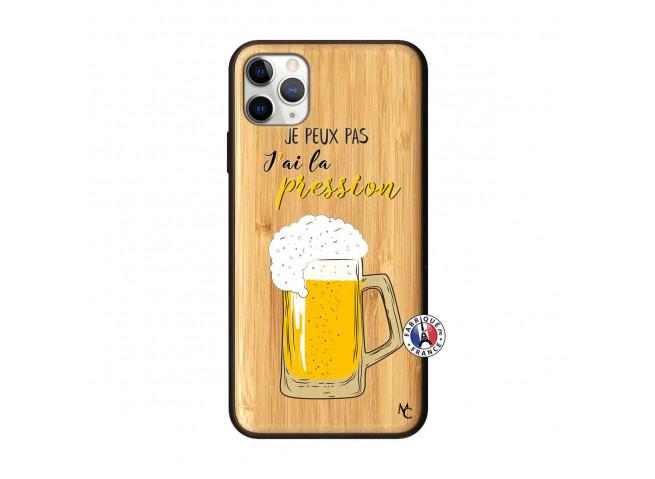 Coque iPhone 11 PRO MAX Je peux pas J'ai la Pression Bois Bamboo