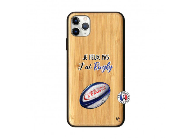 Coque iPhone 11 PRO MAX Je Peux Pas J Ai Rugby Bois Bamboo