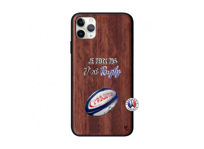Coque iPhone 11 PRO MAX Je Peux Pas J Ai Rugby Bois Walnut