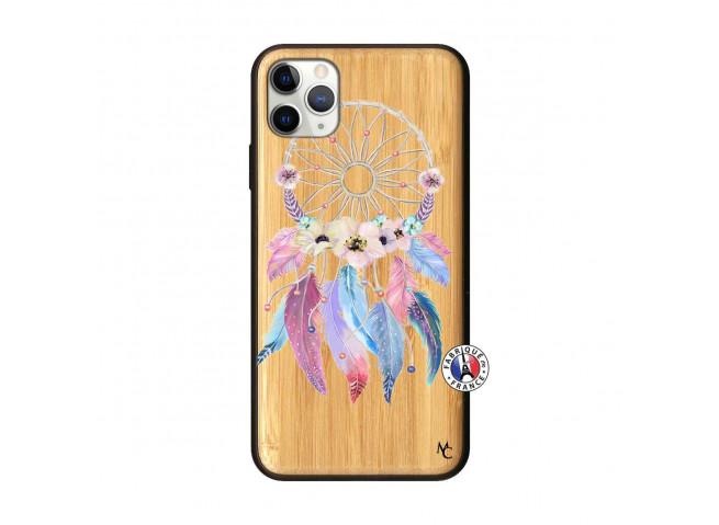 Coque iPhone 11 PRO MAX Multicolor Watercolor Floral Dreamcatcher Bois Bamboo