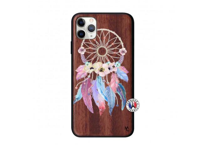 Coque iPhone 11 PRO MAX Multicolor Watercolor Floral Dreamcatcher Bois Walnut