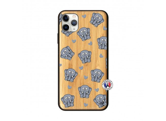 Coque iPhone 11 PRO MAX Petits Elephants Bois Bamboo