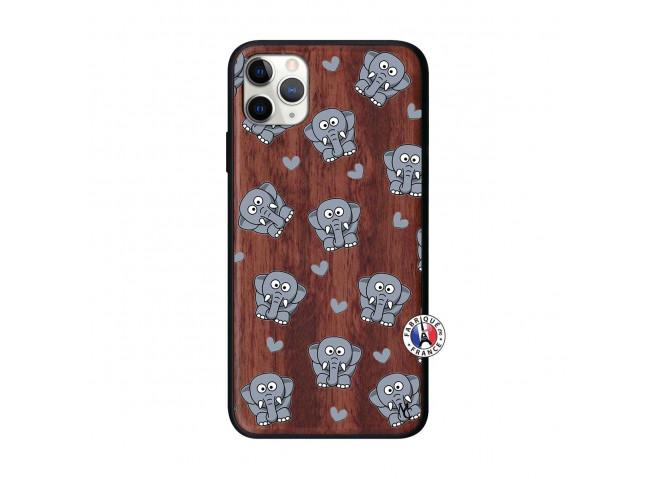 Coque iPhone 11 PRO MAX Petits Elephants Bois Walnut