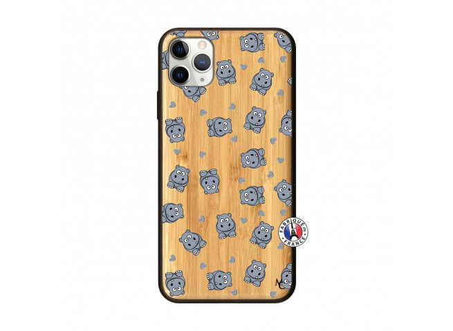 Coque iPhone 11 PRO MAX Petits Hippos Bois Bamboo