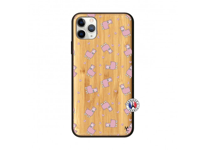 Coque iPhone 11 PRO MAX Petits Moutons Bois Bamboo