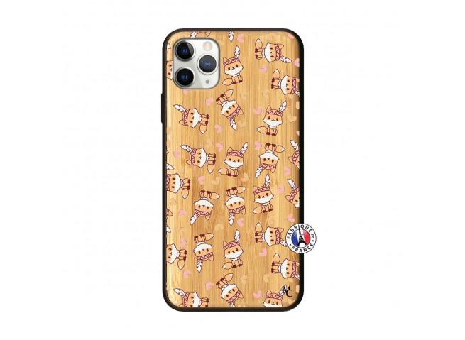 Coque iPhone 11 PRO MAX Petits Renards Bois Bamboo