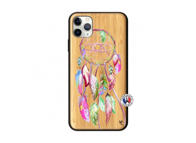 Coque iPhone 11 PRO MAX Pink Painted Dreamcatcher Bois Bamboo