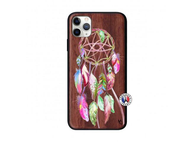 Coque iPhone 11 PRO MAX Pink Painted Dreamcatcher Bois Walnut