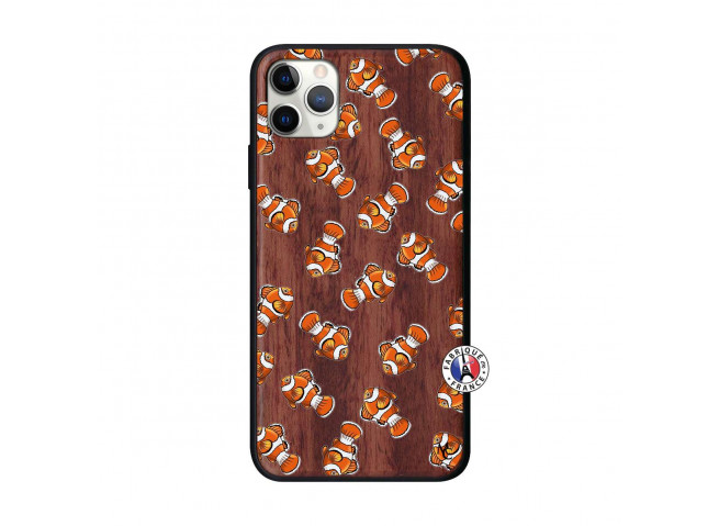 Coque iPhone 11 PRO MAX Petits Poissons Clown Bois Walnut