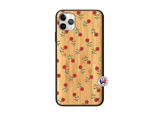 Coque iPhone 11 PRO MAX Rose Pattern Bois Bamboo