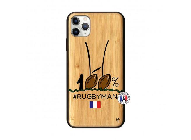 Coque iPhone 11 PRO MAX 100 % Rugbyman Entre les Poteaux Bois Bamboo