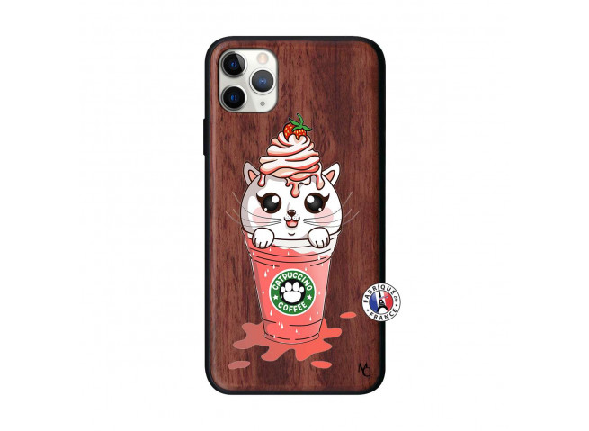 Coque iPhone 11 PRO MAX Smoothie Cat Ice Cream Bois Walnut