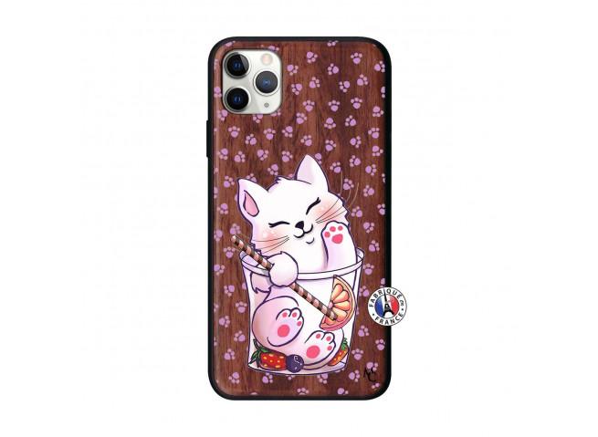 Coque iPhone 11 PRO MAX Smoothie Cat Bois Walnut