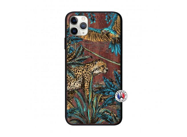 Coque iPhone 11 PRO MAX Leopard Jungle Bois Walnut