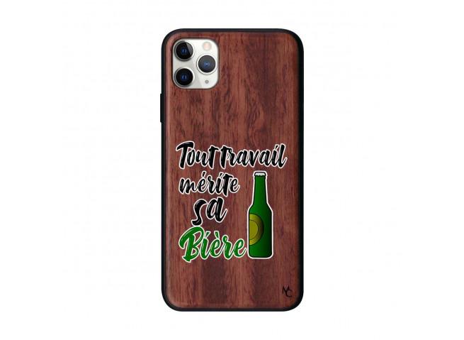 Coque iPhone 11 PRO MAX Tout Travail Merite Sa Biere Bois Walnut