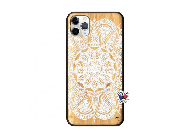 Coque iPhone 11 PRO MAX White Mandala Bois Bamboo