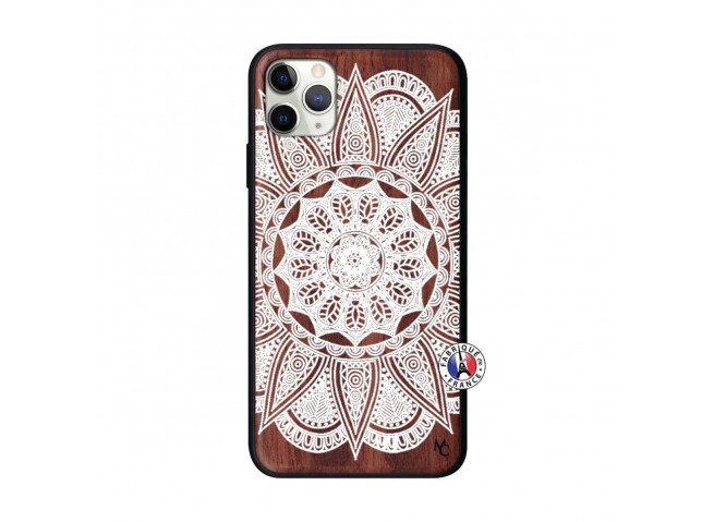 Coque iPhone 11 PRO MAX White Mandala Bois Walnut