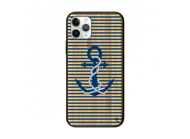 Coque iPhone 11 PRO Ancre Bois Bamboo