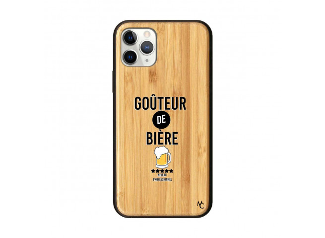 Coque iPhone 11 PRO Goûteur de Bière Bois Bamboo