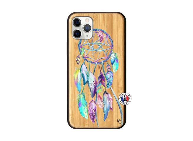 Coque iPhone 11 PRO Blue Painted Dreamcatcher Bois Bamboo
