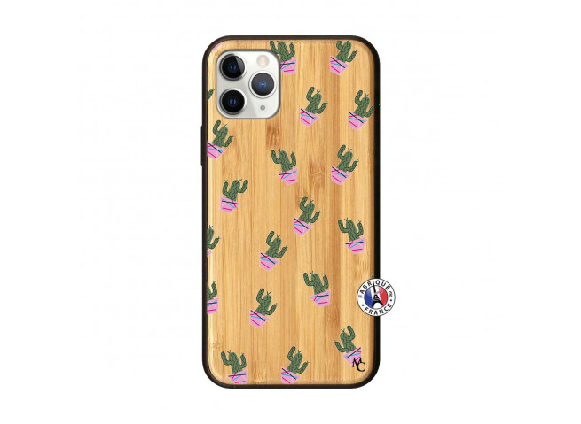 Coque iPhone 11 PRO Cactus Pattern Bois Bamboo