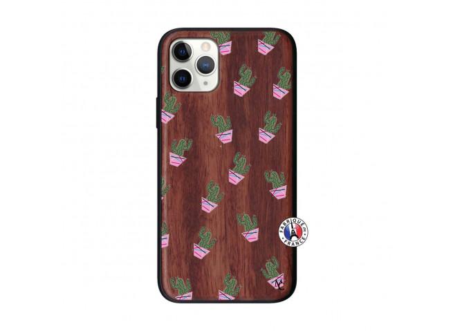 Coque iPhone 11 PRO Cactus Pattern Bois Walnut