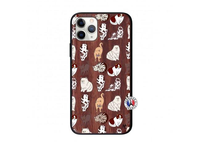 Coque iPhone 11 PRO Cat Pattern Bois Walnut