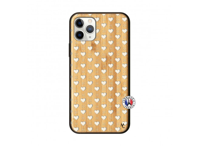 Coque iPhone 11 PRO Little Hearts Bois Bamboo