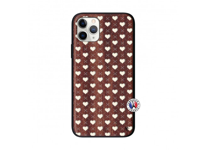 Coque iPhone 11 PRO Little Hearts Bois Walnut