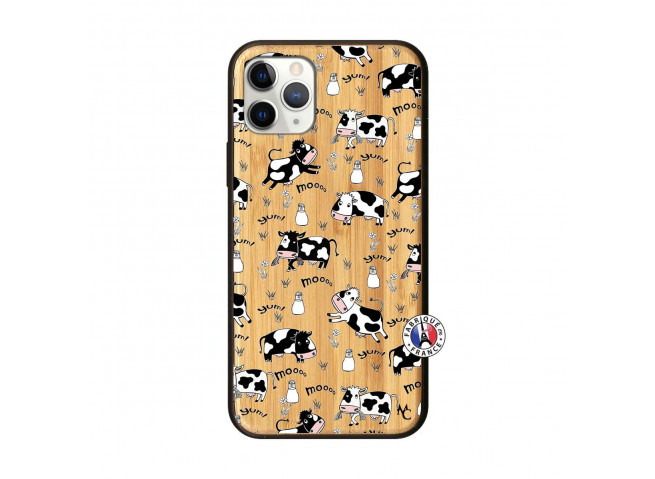 Coque iPhone 11 PRO Cow Pattern Bois Bamboo