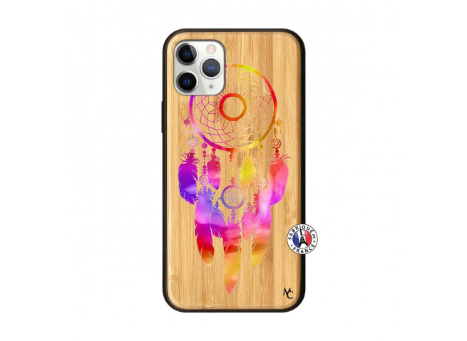 Coque iPhone 11 PRO Dreamcatcher Rainbow Feathers Bois Bamboo