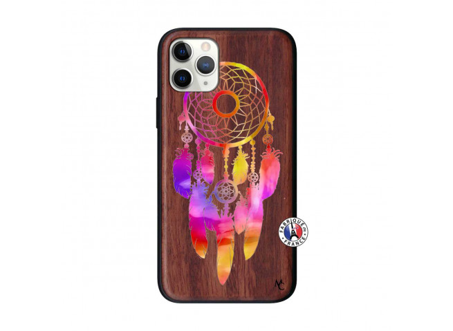 Coque iPhone 11 PRO Dreamcatcher Rainbow Feathers Bois Walnut