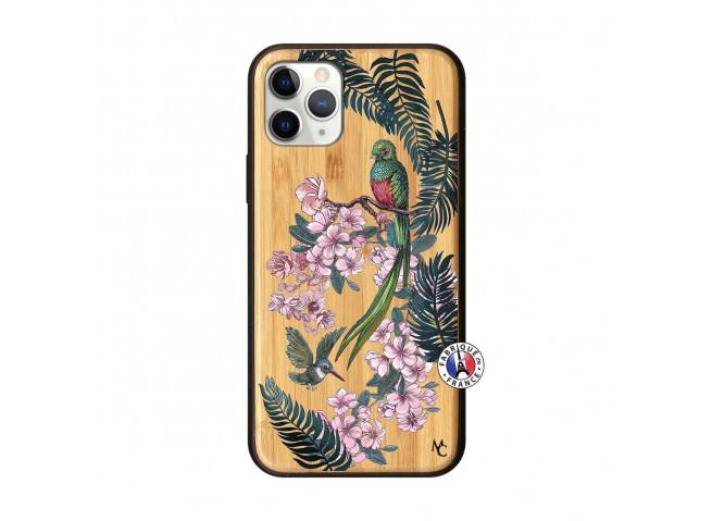 Coque iPhone 11 PRO Flower Birds Bois Bamboo