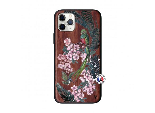 Coque iPhone 11 PRO Flower Birds Bois Walnut