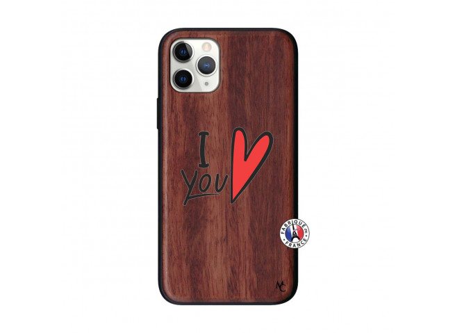 Coque iPhone 11 PRO I Love You Bois Walnut