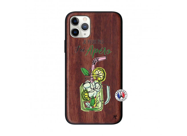 Coque iPhone 11 PRO Je peux pas J'ai Apéro Bois Walnut